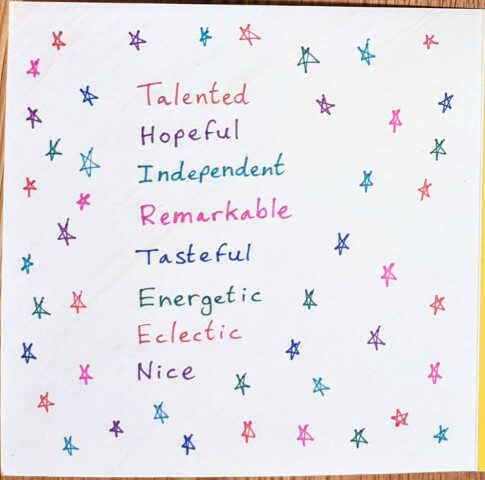 KK's 13th birthday card acrostic. THIRTEEN. Talented. Hopeful. Independent. Remarkable. Tasteful. Energetic. Eclectic. Nice.
